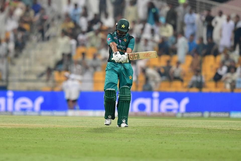 Pakistan's batsman Haris Sohail leaves the pitch after being dismissed during the one day international. (AFP)