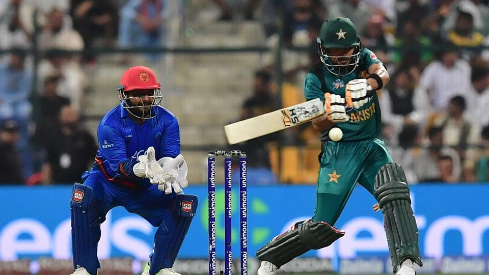 Pakistan's batsman Babar Azam plays a shot during the one day international (ODI) Asia Cup cricket match between Pakistan and Afghanistan. (AFP)