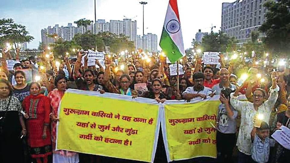 Residents of Sectors 82, 83 and 86 took out a candle-light march, demanding better policing.