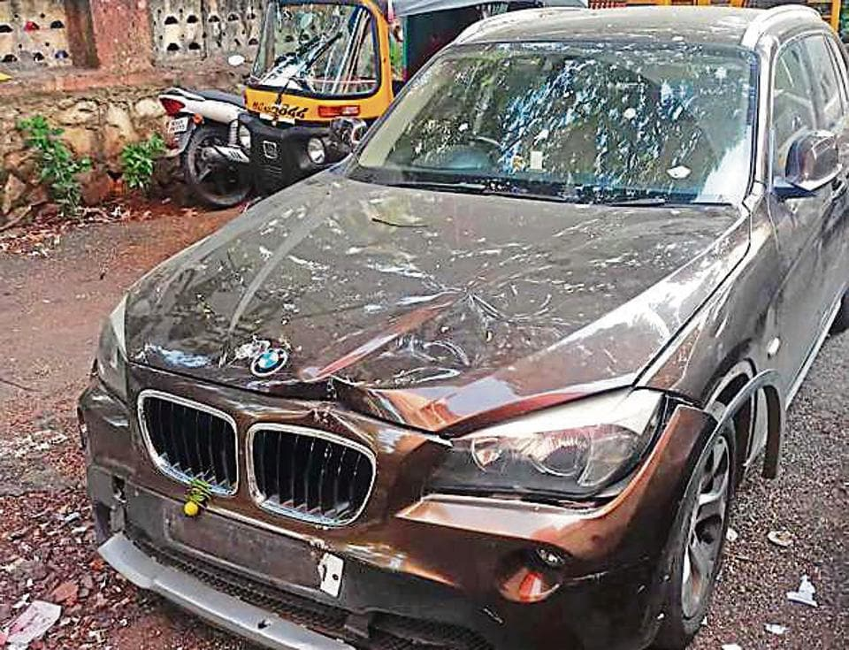 Police said the BMW also rammed into another car before crashing into the bike.