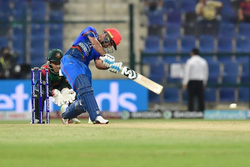 Afghanistan batsman Hashmatullah Shaidi plays a shot during the one day international (ODI) Asia Cup cricket match. (AFP)