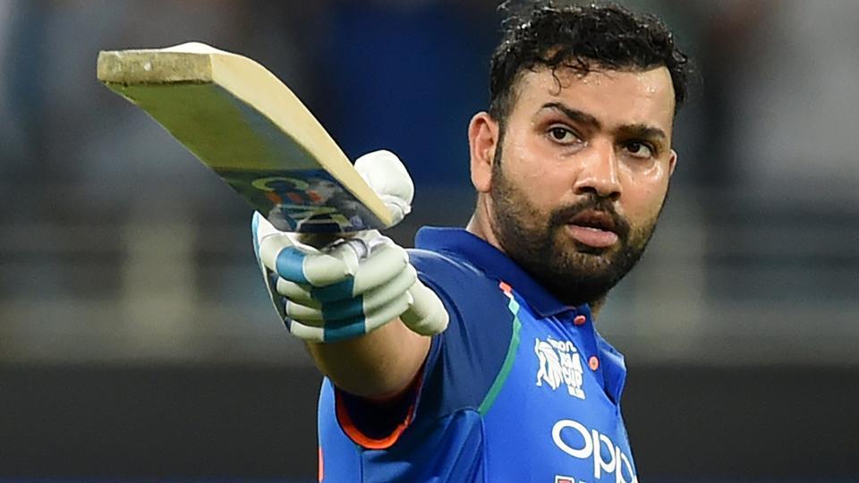 Rohit Sharma celebrates after scoring his century against Pakistan. (AFP)