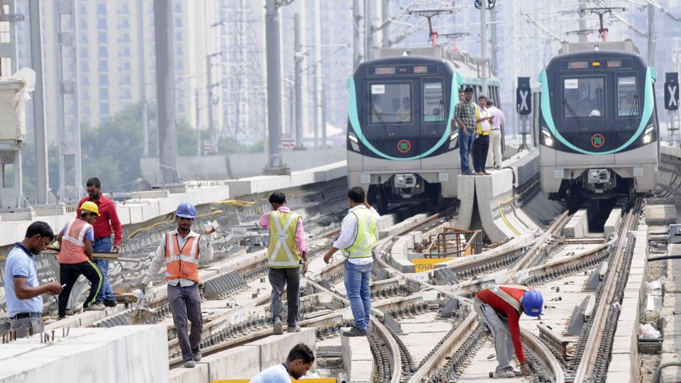The Delhi Metro rail Corporation started a trial on 29.707 km Greater Noida to sector 71 metro station, in Noida, India, on Monday, August 20, 2018.