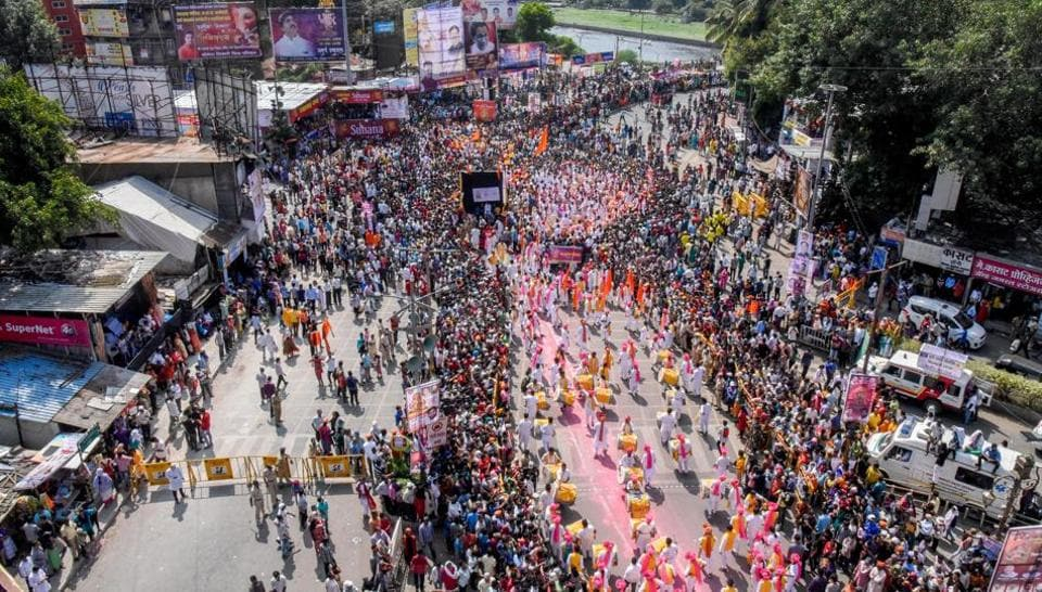 Aerial shot of the Ganesh immersion procession on Laxmi road on Sunday. (Sanket Wankhade/HT PHOTO)