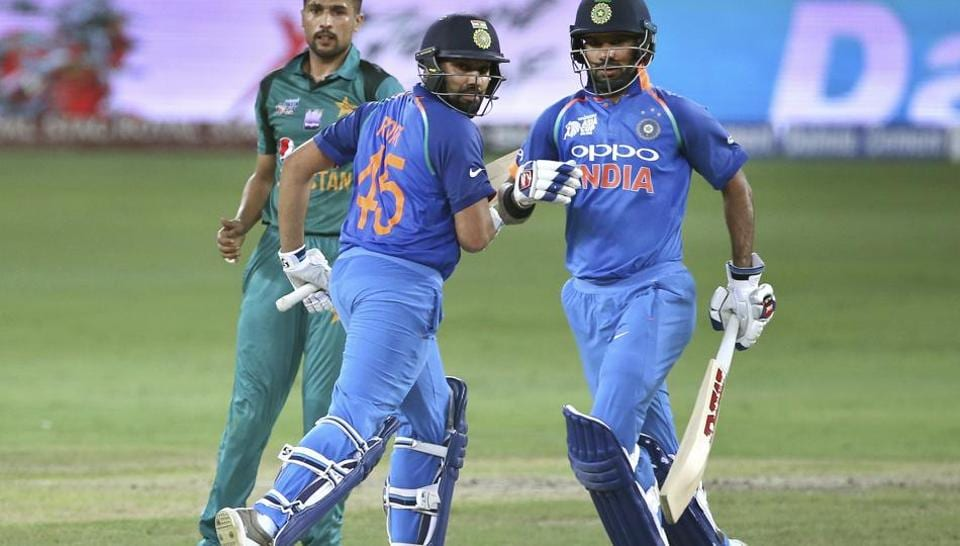 Rohit Sharma (111*) and Shikhar Dhawan (114) shared 210 runs partnership for the first wicket against Pakistan (photo - getty)