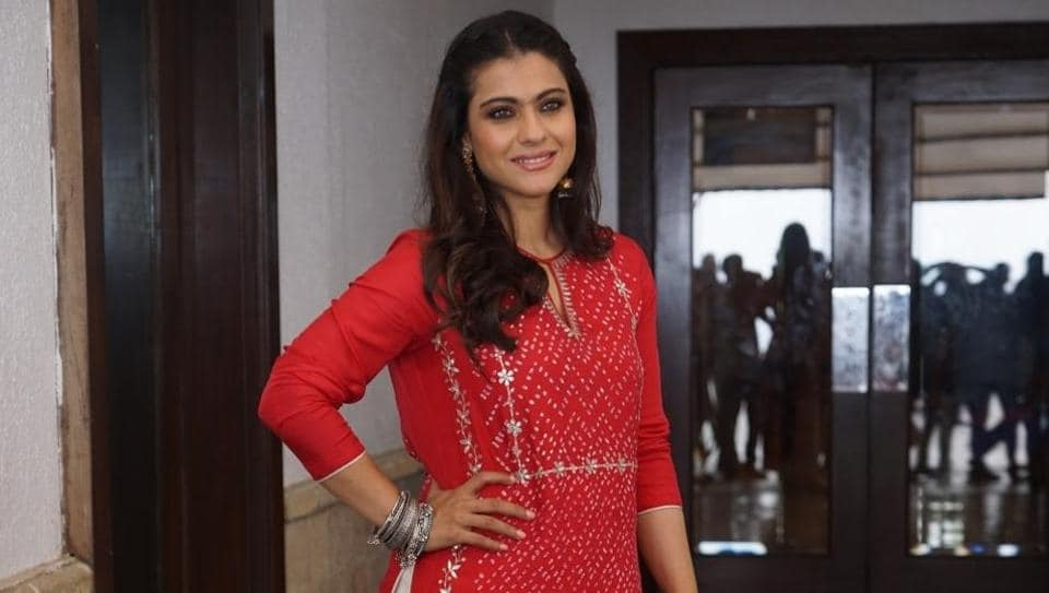 Actor Kajol during the promotion of her upcoming film Helicopter Eela in Mumbai.