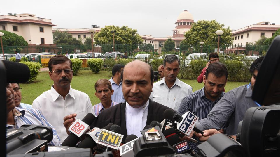 Lawmakers can continue practising as lawyers in courts after the Supreme Court on Tuesday dismissed a plea arguing for a ban. The Bar Council of India's rules don't prohibit lawmakers from practising as lawyers, said the court after hearing a petition filed by Ashwini Upadhyay (C), a BJP leader and lawyer. Upadhyay's peition had sought a ban on MPs, MLAs, MLCs from practising as lawyers in courts during their tenure in legislature. (Sonu Mehta / HT Photo)