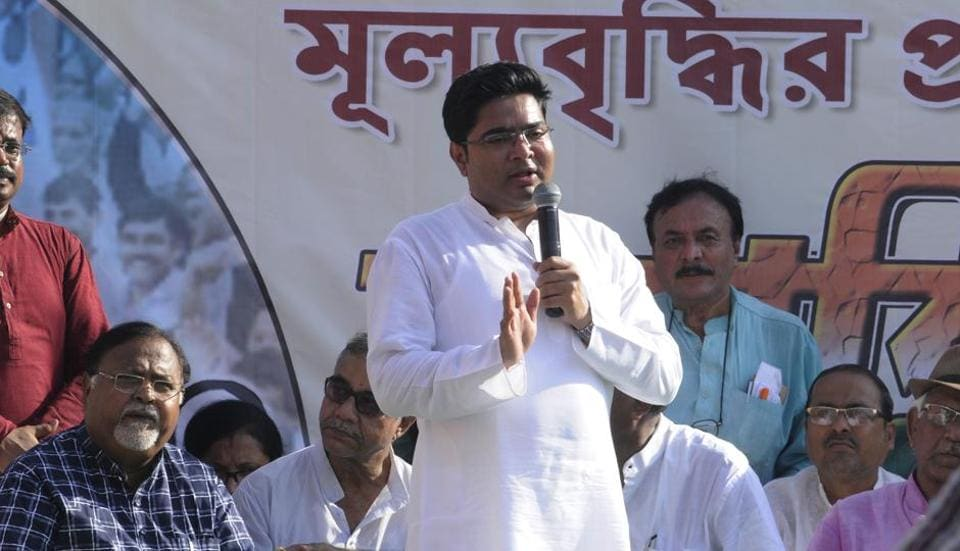 All India Trinamool Youth Congress president Abhishek Banerjee delivers a speech at a protest demonstration against price hike of petrol and diesel at Esplanade in Kolkata on September 10.