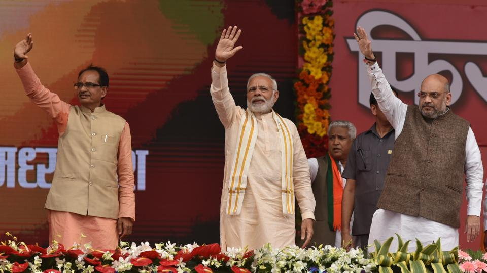 "Prime Minister Narendra Modi addressed a rally of BJP workers in poll-bound Bhopal on Tuesday. BJP president Amit Shah also spoke at the event -- 'Karyakarta Mahakumbh' -- on the birth anniversary of Pandit Deendayal Upadhyaya, the co-founder the Bharatiya Jana Sangh. The event was billed as the ""world's largest congregation of political workers,"" a BJP spokesperson said. (Mujeeb Faruqui / HT Photo)"
