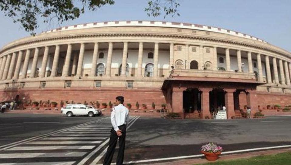 The Parliament building in New Delhi