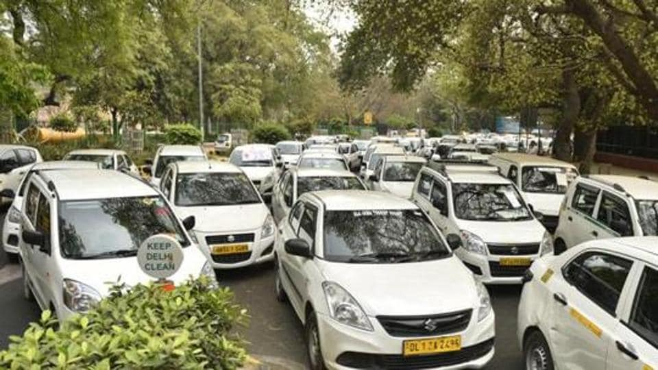 Hundreds Of Commercial Cars Parked Near Jantar Mantar Due To A Strike By The Drivers OLA And Uber Cabs At Parliament Street In New Delhi India