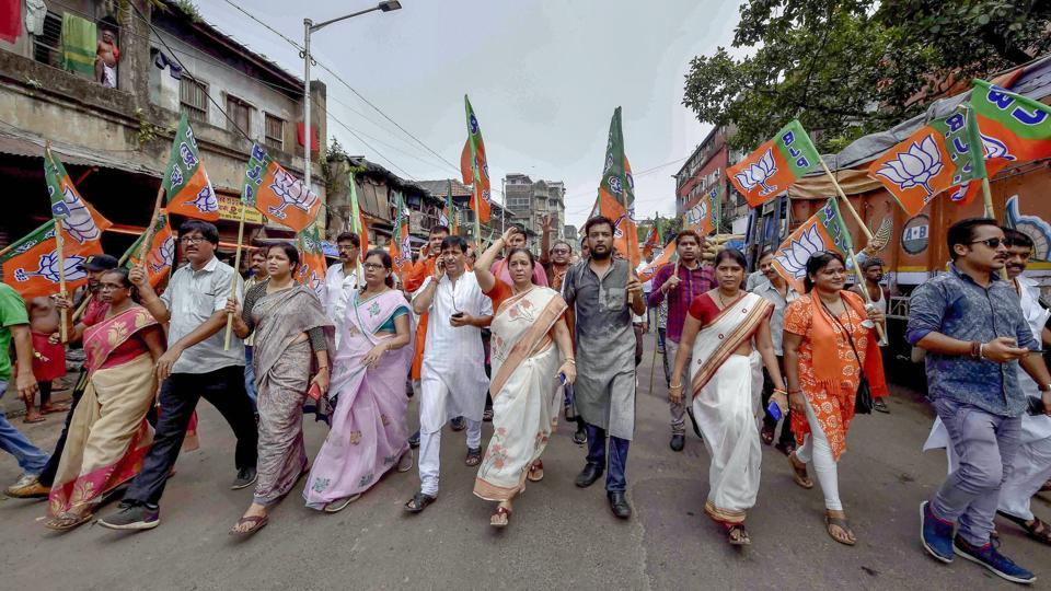 Sporadic incidents of violence were reported from some West Bengal districts when BJP and Trinamool Congress supporters clashed during a 12-hour bandh called by BJP to protest the killing of two students in a clash in North Dinajpur district, police said. Rallies were taken out by BJP leaders in Kolkata in support of the bandh. (Ashok Bhaumik / PTI)
