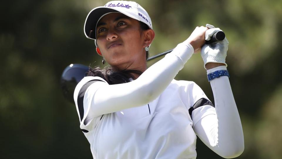 Aditi Ashok hits her tee shot on the 8th hole during the second round of the KPMG Women's PGA Championship golf tournament at Kemper Lakes Golf Club.