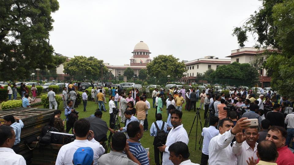 The Supreme Court has allowed live streaming of court proceedings, starting with the country's top court. In a unanimous verdict, a three-judge bench said live streaming of court proceedings will bring accountability into the judicial system. The bench chaired by Chief Justice of India Dipak Misra hoped that the rules for live streaming would be framed soon. (Sonu Mehta / HT File)