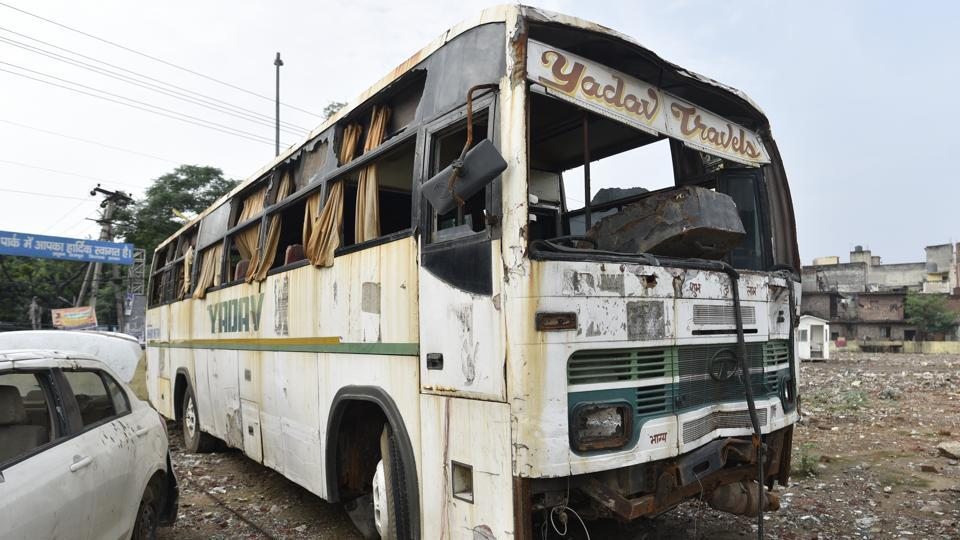 A day after the crime, police recovered the bus from the Sant Ravi Dass camp in south Delhi, where four of the six convicts lived. The bus had enough forensic evidence for police to seal the fate of the six men who raped the paramedic on December 16, 2012. (Sanchit Khanna / HT Photo)