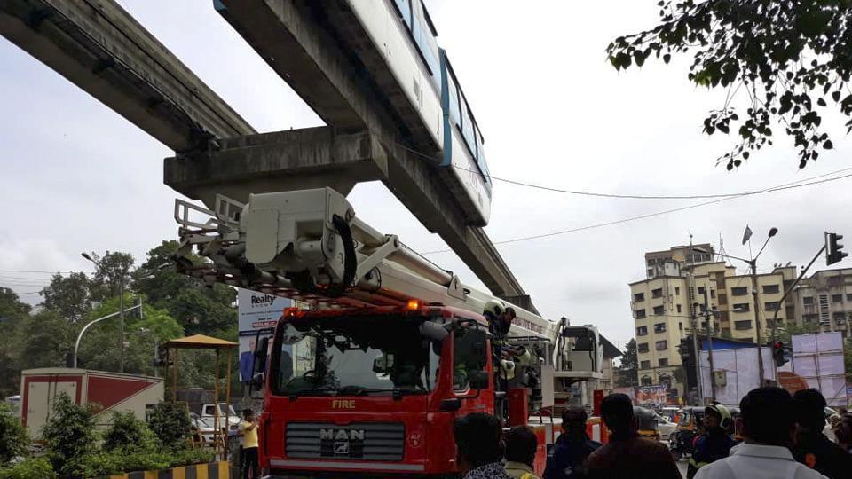 Mono Rail Disturb at Chembur on 2nd day in MUMBAI, India.