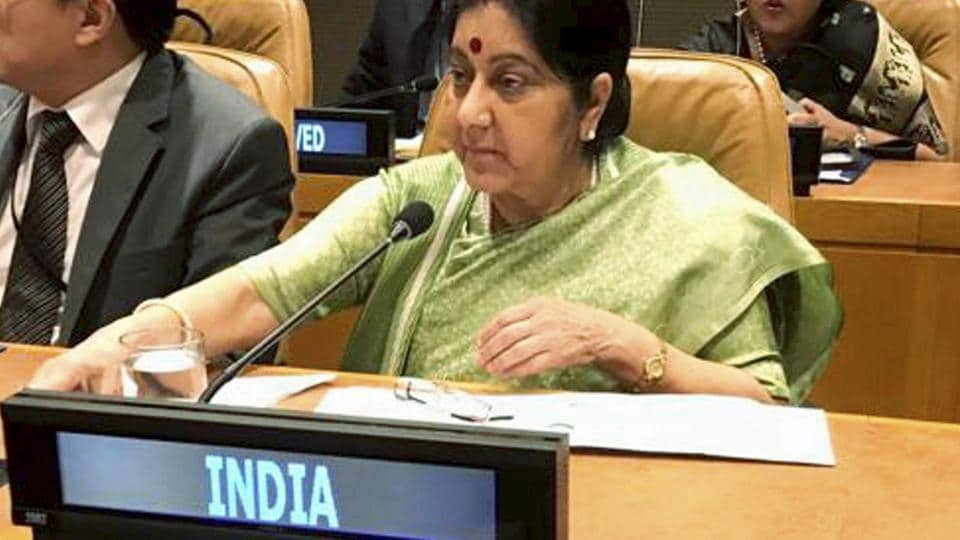 New York: Union Minister for External Affairs Sushma Swaraj during a meeting on climate change at the 73rd UN General Assembly in New York, Wednesday, September 26, 2018.