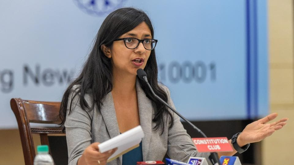 Delhi Commission for Women (DCW) chairperson Swati Maliwal addresses a press conference on July 24.