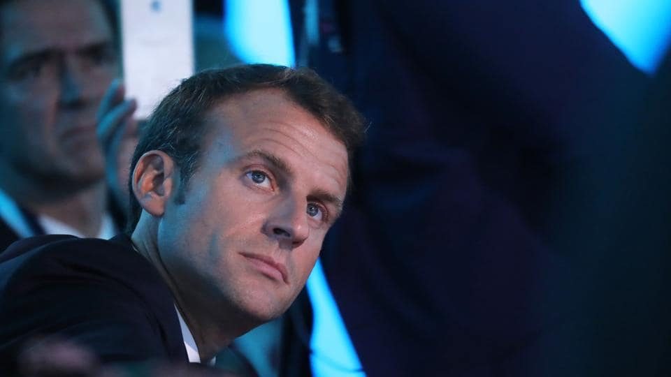 French President Emmanuel Macron listens during the One Planet Summit at the Plaza Hotel on the sidelines of the United Nations General Assembly in New York on September 26, 2018.