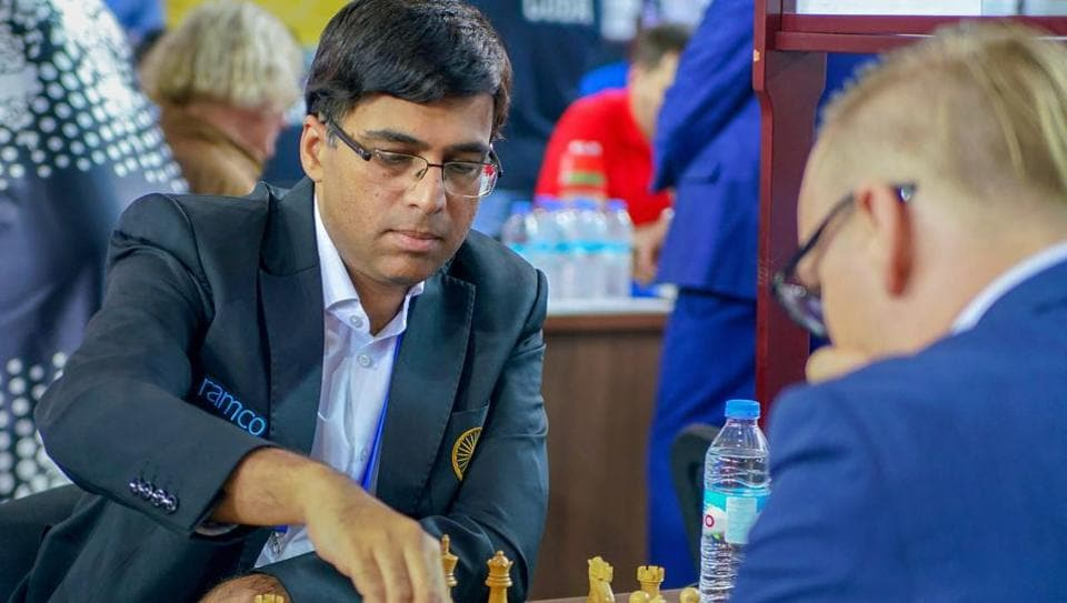 Batumi: Five-time world champion Viswanathan Anand plays against Markus Ragger of Austria in the second round of the team event at 43rd Chess Olympiad in Batumi, Geogia, Wednesday, Sept 26, 2018. Anand beat Ragger as Indian team won against Austria, 3.5 - 0.5. (Paul Troung via PTI Photo) (STORY SPF 13)(PTI9_26_2018_000088B)