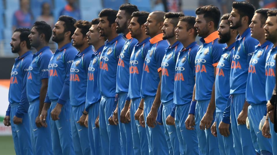 Indian players line up for the national anthem before the start of the ODI Asia Cup cricket match between Afghanistan and India at the Dubai International Cricket Stadium in Dubai, United Arab Emirates. (Ishara S. Kodikara / AFP)