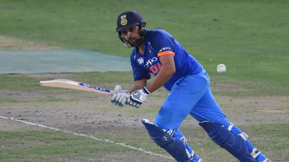 Indian Cricket team captain Rohit Sharma plays a shot during the one day international (ODI) Asia Cup cricket match between Pakistan and India