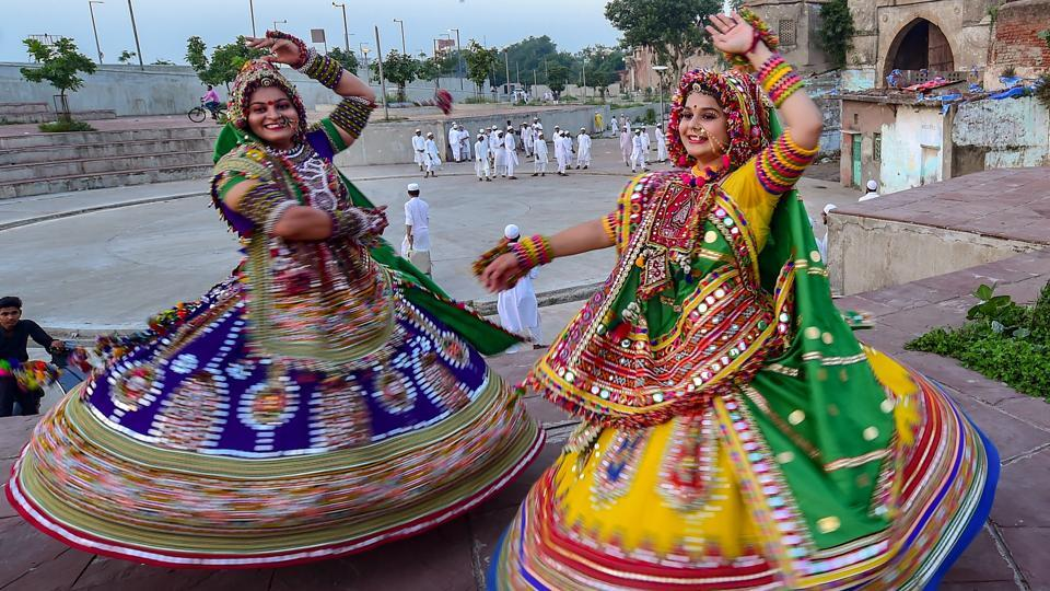 Dancers, dressed in traditional attire, take part in the rehearsals for the 'Garba' dance, ahead of the nine-day Navratri festival in Ahmedabad, Gujarat. (Santosh Hirlekar / PTI)