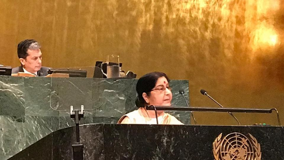 Sushma Swaraj also spoke on how the UN needed to work together as a family, while delivering her speech.
