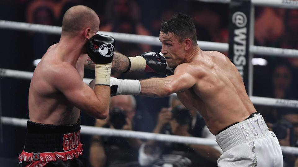 British boxers George Groves (left) and Callum Smith (right) in action during the World Boxing Super Series Super-Middleweight Ali Trophy Final.