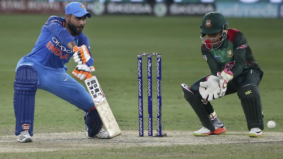 India's Ravindra Jadeja, left, bats during the final one day international cricket match of Asia Cup between India and Bangladesh, in Dubai, United Arab Emirates. (AP)