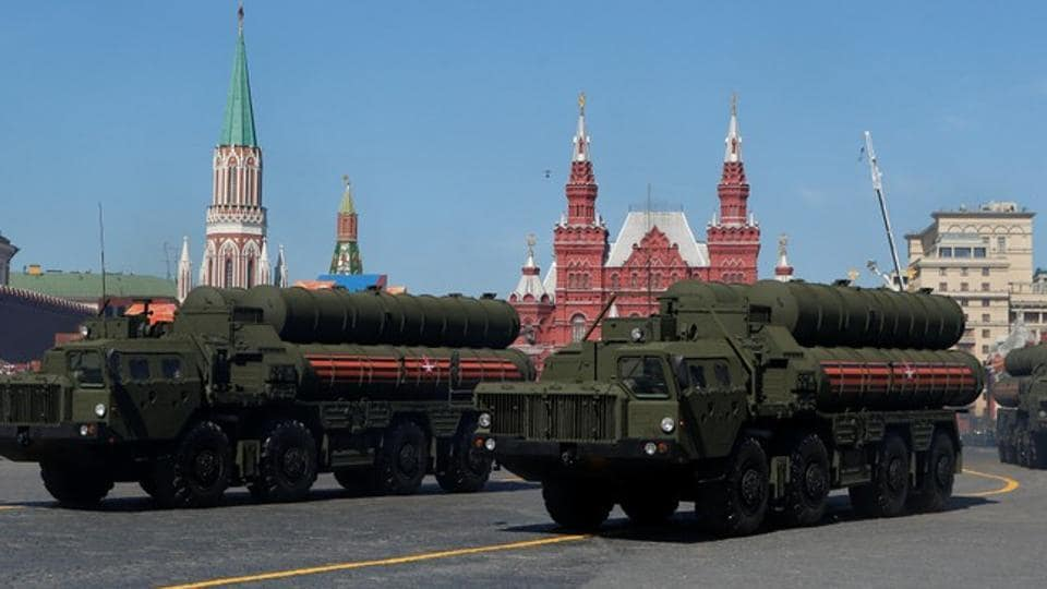 Russian servicemen drive S-400 missile air defence systems during the Victory Day parade, at Red Square in Moscow.