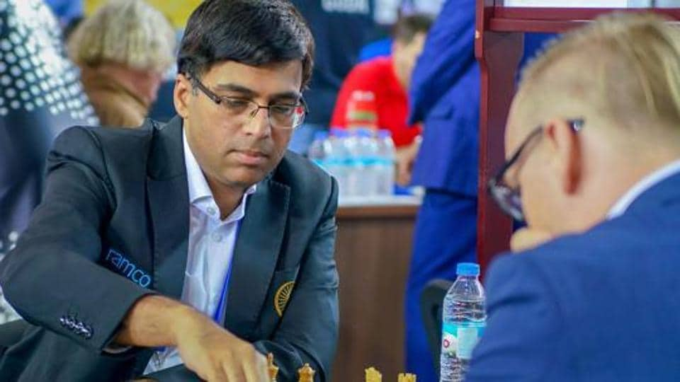 Batumi: Five-time world champion Viswanathan Anand plays against Markus Ragger of Austria in the second round of the team event at 43rd Chess Olympiad in Batumi, Geogia, Wednesday, Sept 26, 2018. Anand beat Ragger as Indian team won against Austria, 3.5 - 0.5.