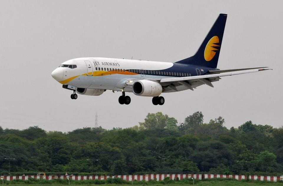 FILE PHOTO: A Jet Airways passenger aircraft prepares to land in Ahmedabad.  The failure or unlikely event of closure of Jet Airways will have a catastrophic effect on air transport in India, as we know it