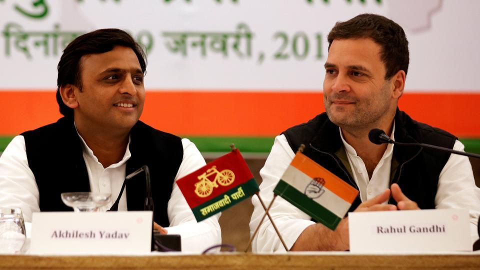 Samajwadi Party (SP) President and Congress chief Rahul Gandhi attend a joint press conference in Lucknow.