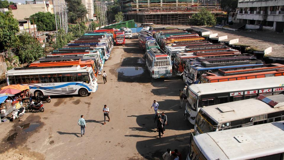 A view of a bus stand during the 'Chakka Jaam' strike called by the All J&K Transport Welfare Association against the fuel hike, RTO officials and demanded revision in the passenger fare, in Jammu. (PTI)
