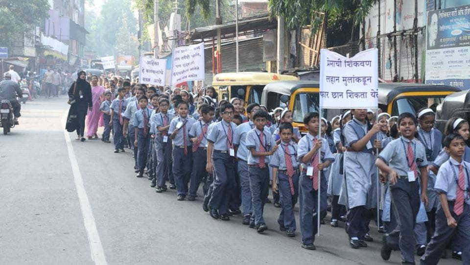 The Jayanti rally of the Maharashtra cosmopolitan education society was flagged off from the Azam campus on Monday. (HT PHOTO)