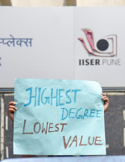 Silent march by research scholars of IISER for hike in their fellowship at IISER campus in Pune on October 3, 2018.