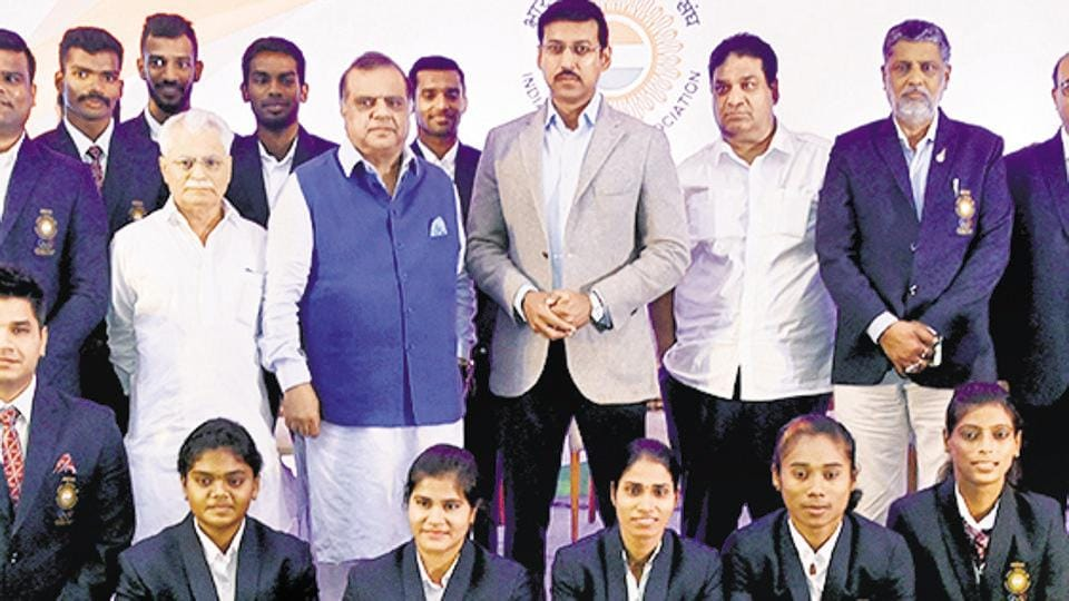 Union sports minister Rajyavardhan Singh Rathore with Asian Games winners at a felicitation ceremony in New Delhi.