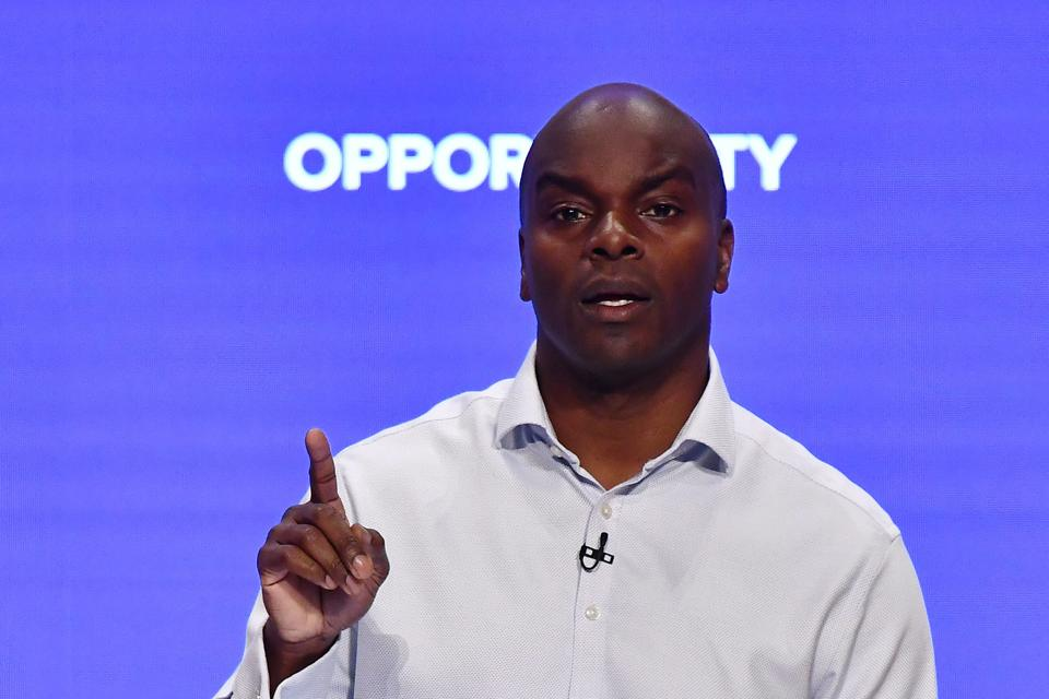 Shaun Bailey, Conservative candidate for London Mayor, speaks at the International Convention Centre in Birmingham, central England.