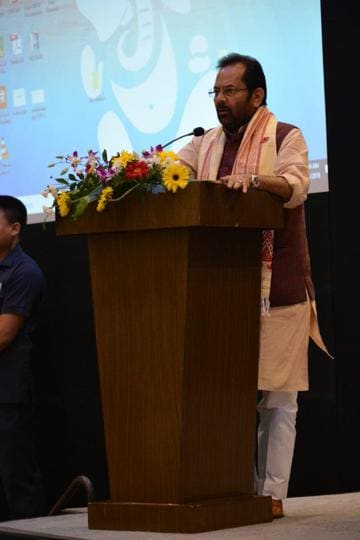 Union minister Mukhtar Abbas Naqvi in Guwahati on October 5.
