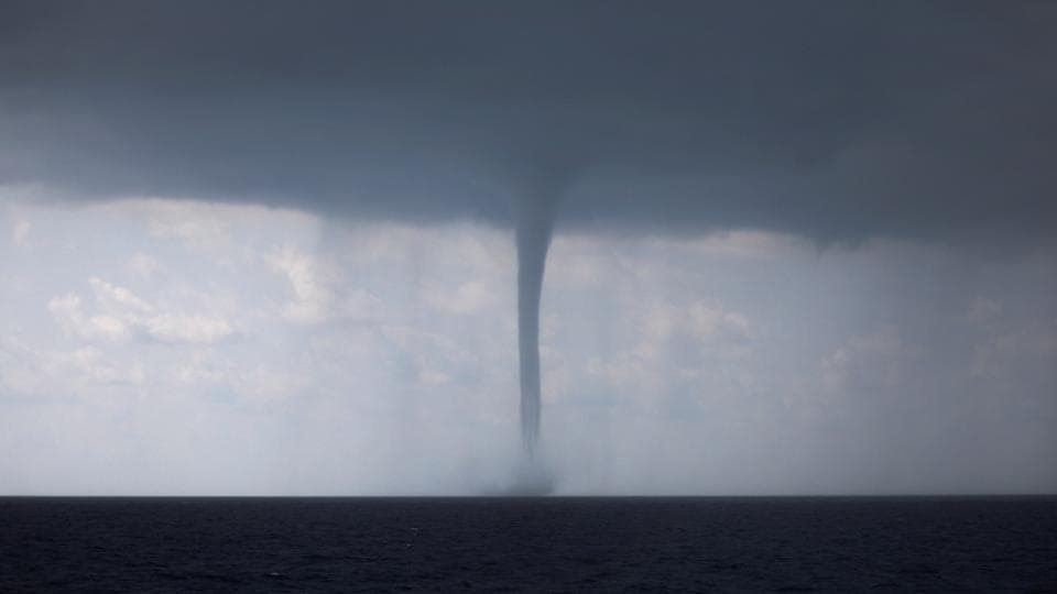 A waterspout is formed during a storm in the Mediterranean Sea. (Alkis Konstantinidis / REUTERS)