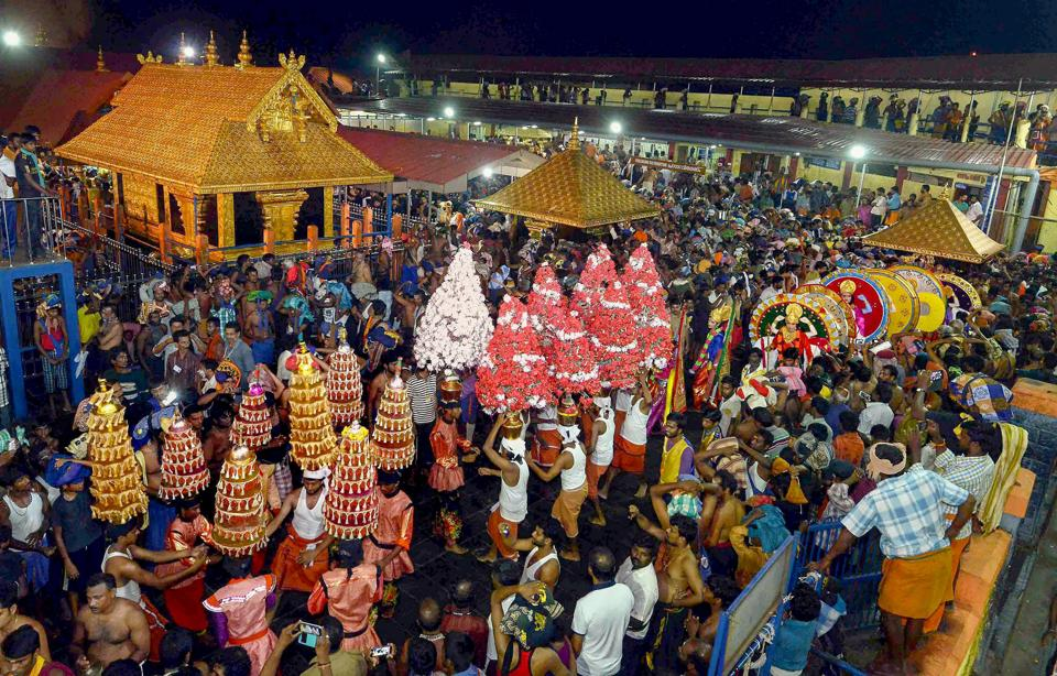 A procession taken out at Lord Ayyappa temple, in Sabarimala.