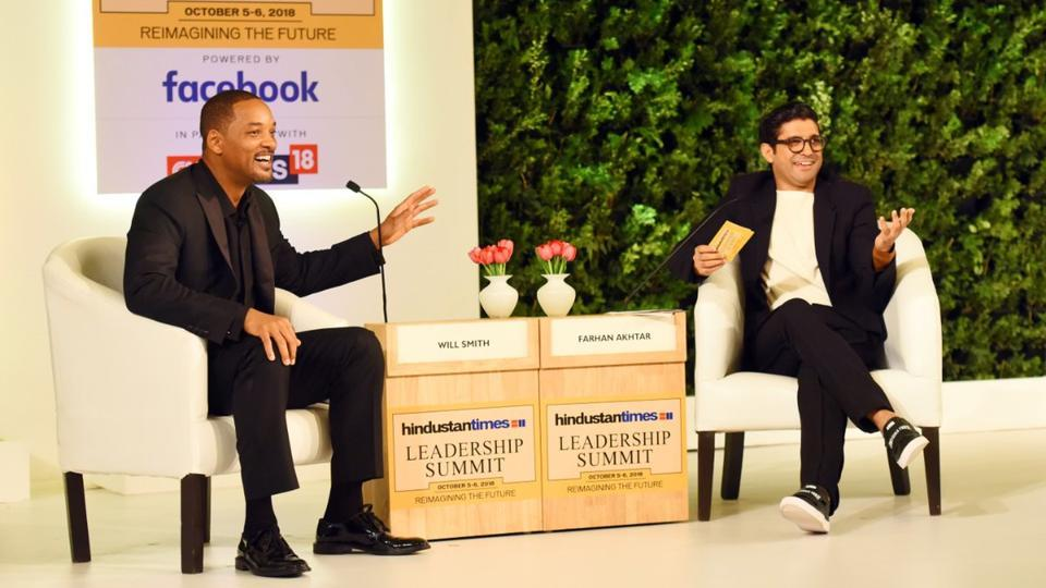 Will Smith and Farhan Akhtar in conversation at the 16th edition of Hindustan Times Leadership Summit.