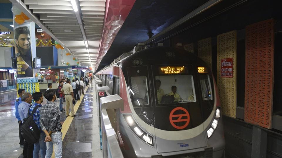A view of Delhi's extension for Pink Line metro line, as it was officially opened for public from today, at South Extension Station, in New Delhi, India, on Monday, August 6, 2018.