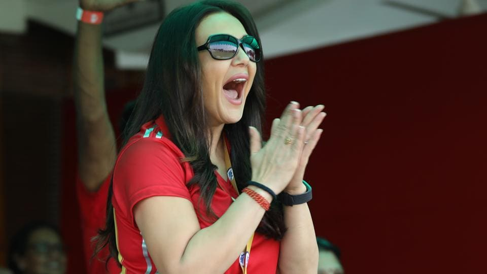 Preity Zinta during the Indian Premier League (IPL) match between the Kings XI Punjab and the Delhi Daredevils.