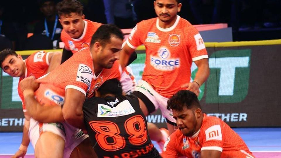 8596cdf659 Puneri Paltan produced a solid all-round team performance to beat Haryana  Steelers 34-22 to register their first win of Pro Kabaddi Season 6 on  Monday.