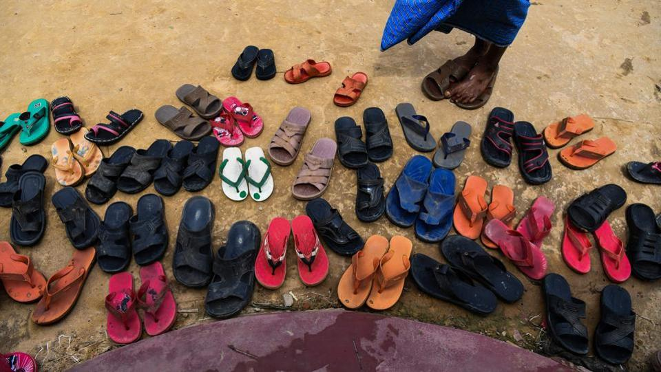 Rohingya refugees leave their footwear outside a mosque for prayers in Kutupalong camp. The Rohingya are a deeply conservative Muslim minority from western Myanmar, where decades of state-sanctioned oppression and violent persecution has forced them out. An army purge beginning in August 2017 has forced more than 700,000 Rohingya over the border into Bangladesh. (Chandan Khanna / AFP)