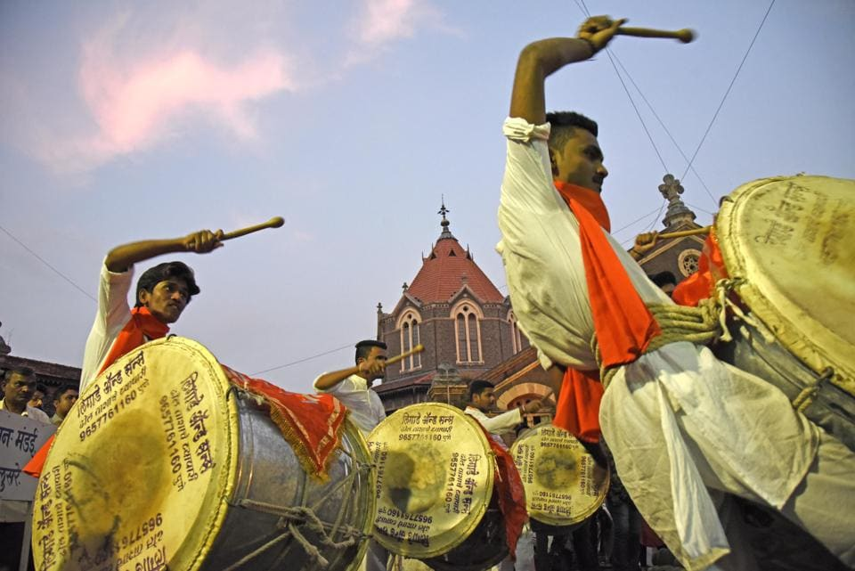Dhol Tasha pathak performed as Mandai completed 132 years of existence in Pune,on Friday,October 5. (Photo by Sanket Wankhade/HT PHOTO)