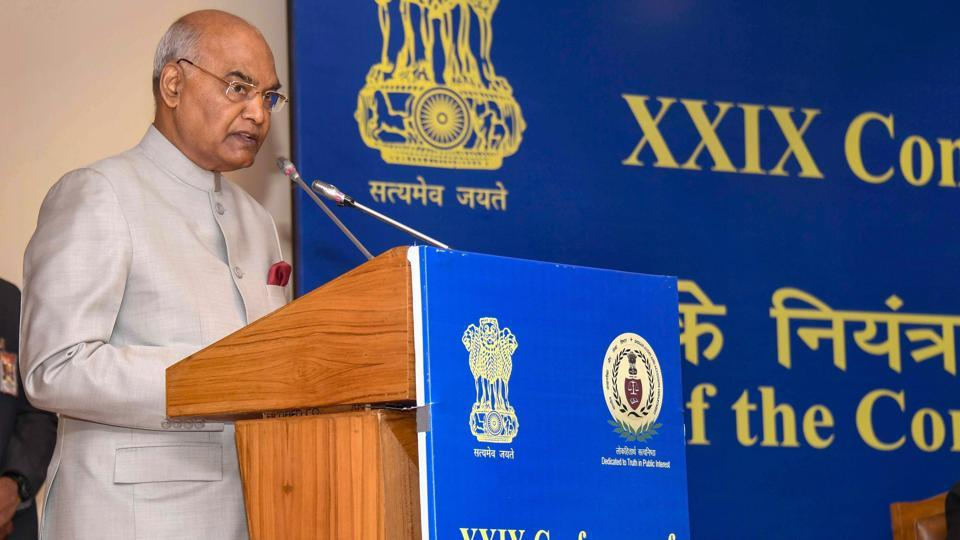 President Ram Nath Kovind speaks during the inauguration of 29th Accountants General Conference in New Delhi. (RB Photo / PTI)