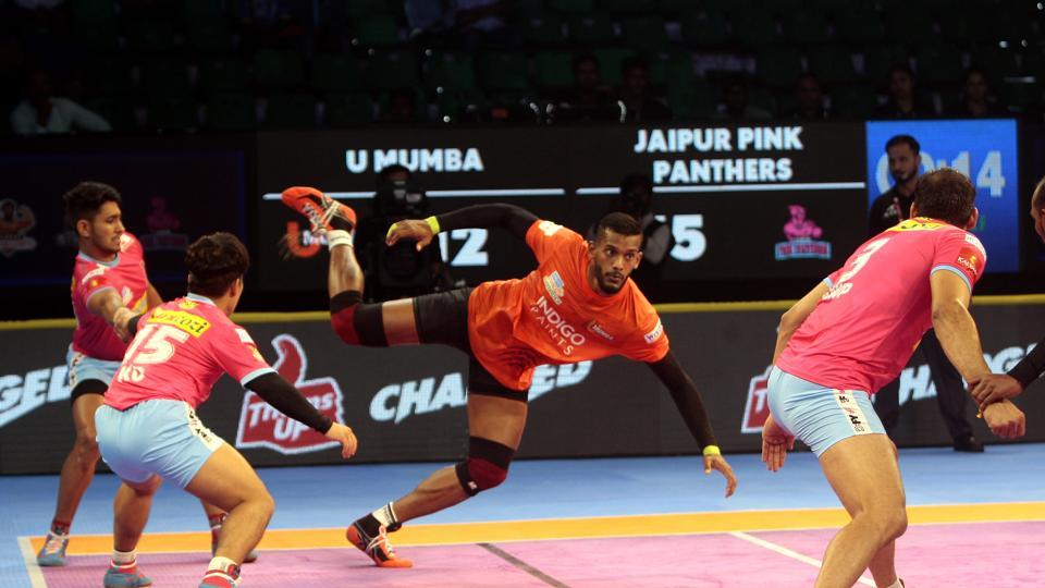 U Mumba's Siddharth Desai in action against Jaipur Pink Panthers.